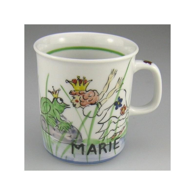 Håndmalet børnekrus med navn og motiv Prinsessen og frøen (model A)