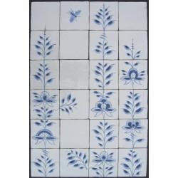 Nostalgi - Frise med 20 håndmalede kakler / fliser i Nostalgi-mønster