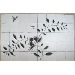 Nostalgi - Frise med Nostalgi-mønster og insekt - velegnet som fliser bag et komfur eller køkkenvask