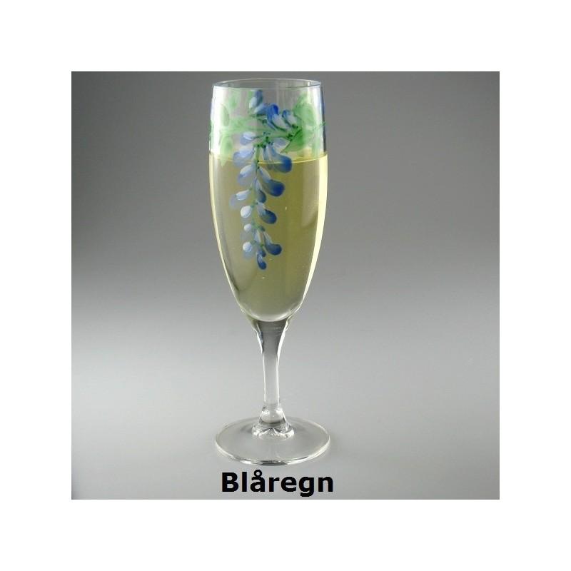 Håndmalet champagneglas med blåregn dekoration
