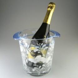 Champagnekøler i glas med håndmalet dekoration Hvid Sommerfugl