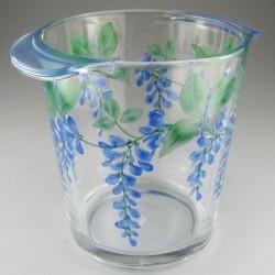 Håndmalet champagnekøler / vinkøler i glas med dekoration Blåregn
