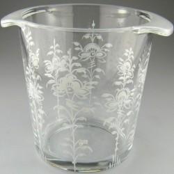Håndmalet champagnekøler / vinkøler i glas med dekoration Hvid Nostalgi