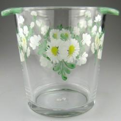 Håndmalet champagnekøler / vinkøler i glas dekoreret med Magueritter