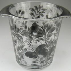 Håndmalet champagnekøler / vinkøler i glas dekoreret med mønsteret Sort Sommerfugl