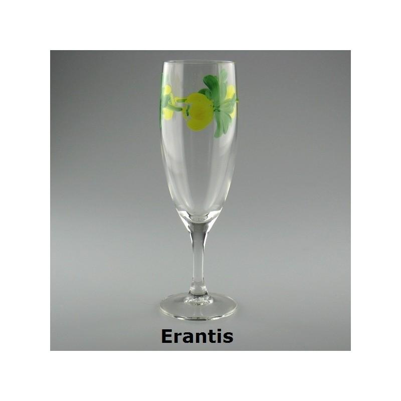 Håndmalet champagneglas med Erantis