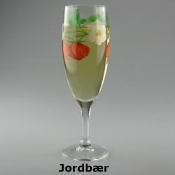 Håndmalet champagneglas med Jordbær motiv