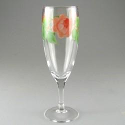 Håndmalet champagneglas med Rosenmotiv