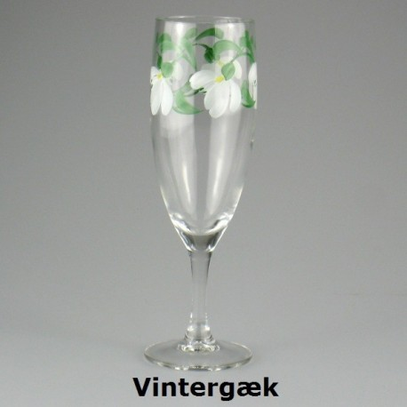 Håndmalet champagneglas med Vintergæk