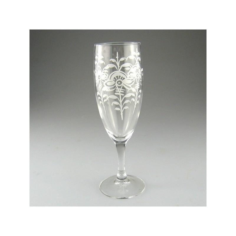Håndmalet champagneglas med Hvid Nostalgi