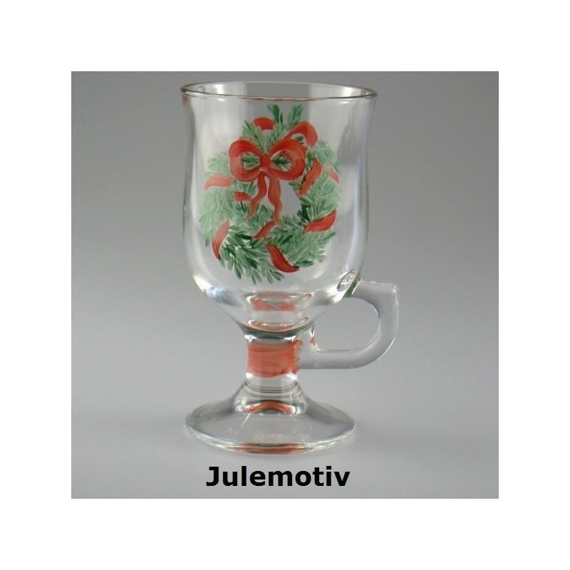 Gløgg-glas med håndmalet julemotiv