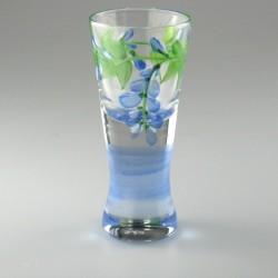 Håndmalet shotglas / dramglas med dekoration blåregn