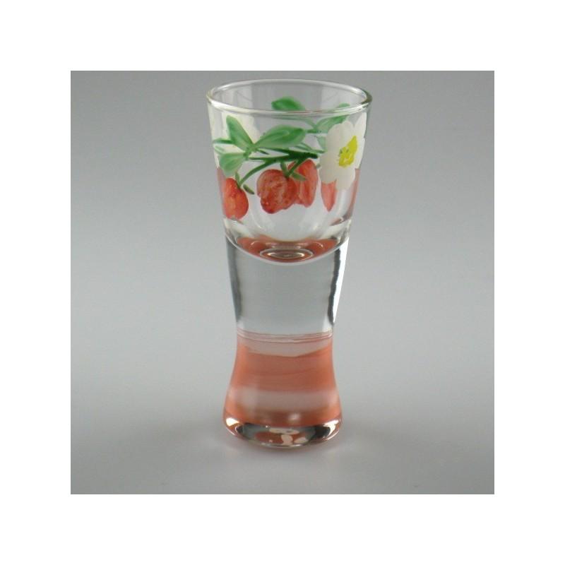 Håndmalet shotglas / dramglas med Jordbær