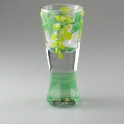 Håndmalet shotglas / dramglas med Guldregn