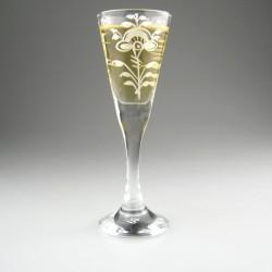 Håndmalet snapseglas med Hvid Nostalgi dekoration