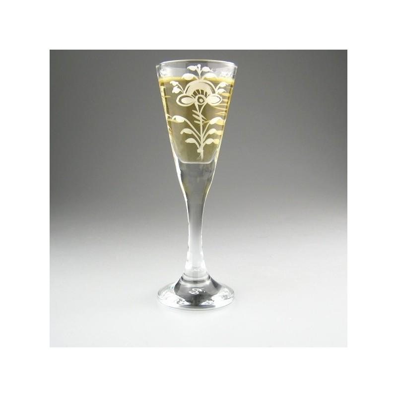 Snapseglas med håndmalet dekoration Hvid Nostalgi