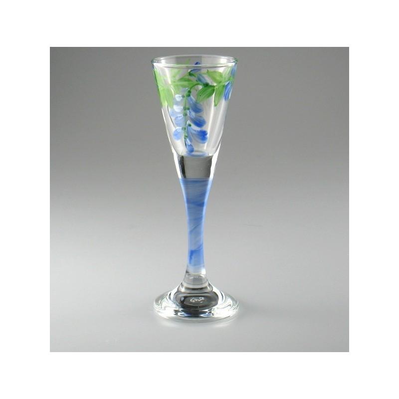 Håndmalet snapseglas med Blåregn