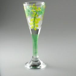 Håndmalet snapseglas med Guldregn