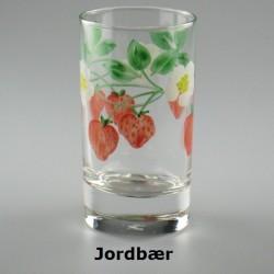 Håndmalet vandglas / dessertglas med Jordbær-motiv