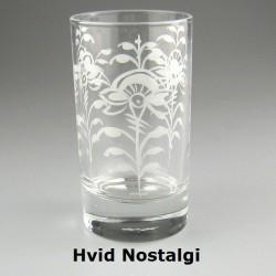 Håndmalet vandglas / dessertglas med Hvid Nostalgi