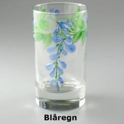 Håndmalet vandglas / dessertglas med Blåregn