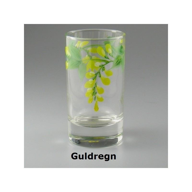Håndmalet vandglas / dessertglas med Guldregn