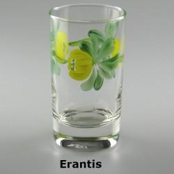 Håndmalet vandglas / dessertglas med erantis