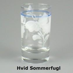 Håndmalet vandglas / dessertglas med Hvid Sommerfugl