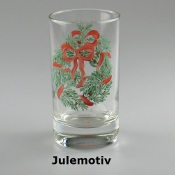 Håndmalet vandglas / dessertglas med julemotiv