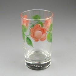 Håndmalet vandglas / dessertglas med Rosenmotiv
