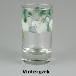 Håndmalet vandglas / dessertglas med Vintergæk