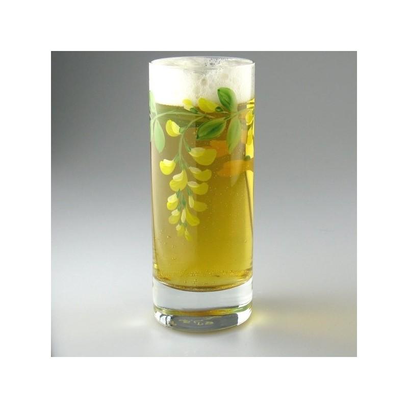 Håndmalet ølglas / longdrinkglas med Guldregn