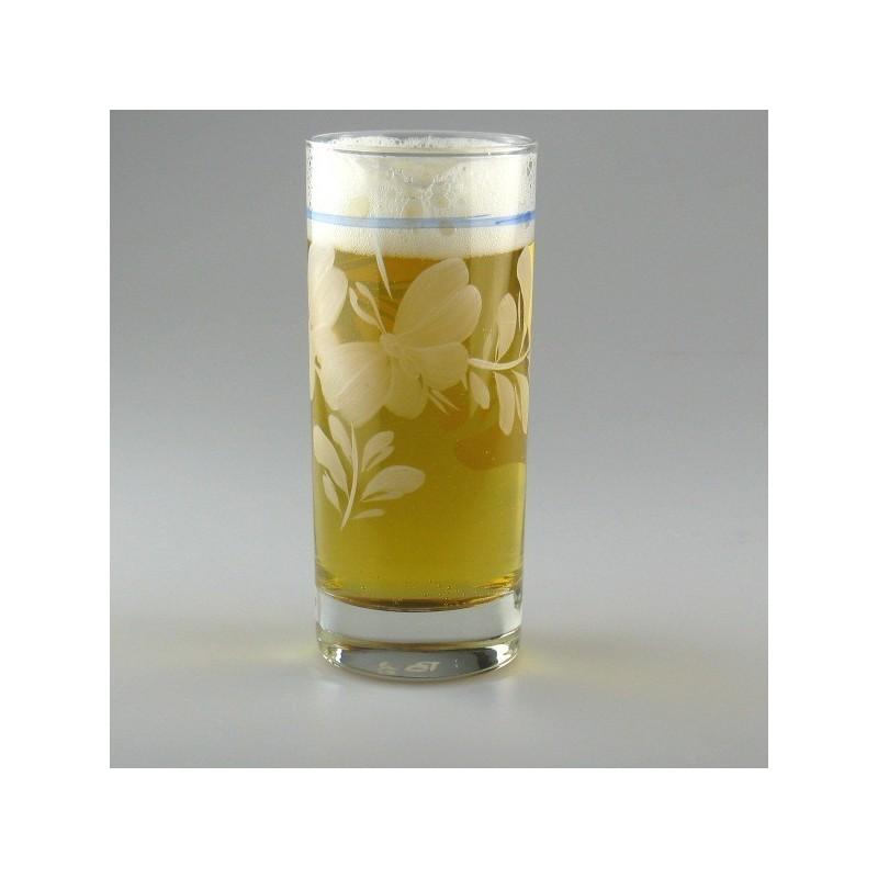 Håndmalede ølglas / longdrinkglas dekoreret med Hvid Sommerfugl