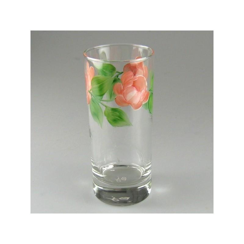 Ølglas / longdrinkglas med håndmalede roser