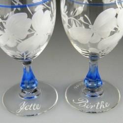 Håndmalet navn på glas / tekst på glas