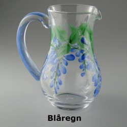 Lille håndmalet glaskande med Blåregn dekoration