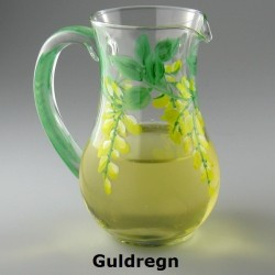 Lille håndmalet glaskande med Guldregn