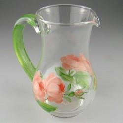 Håndmalet lille glaskande med Rosen-motiv