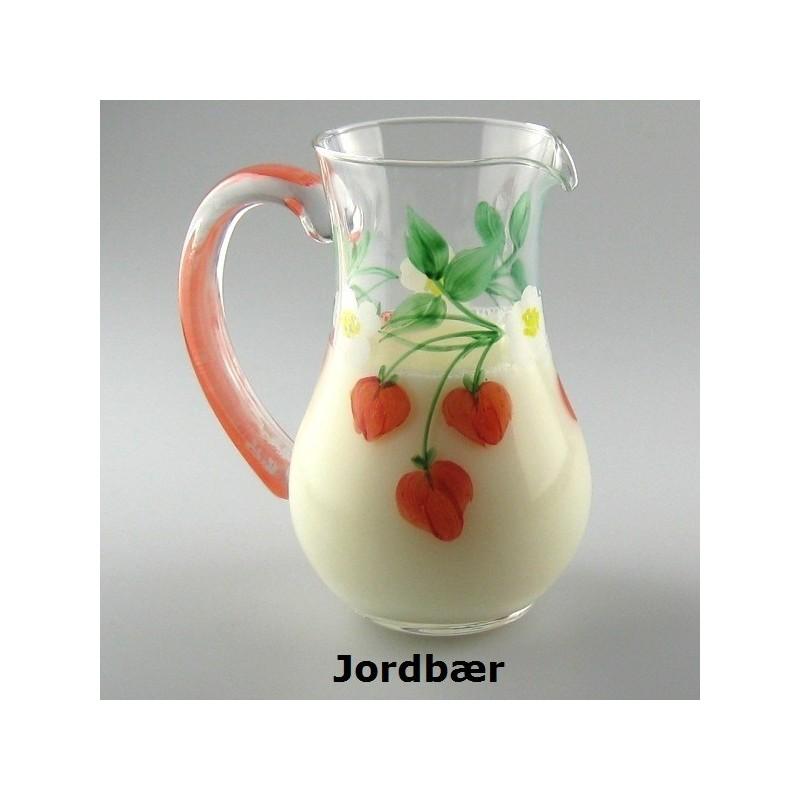 Lille glaskande med jordbær som håndmalet dekoration