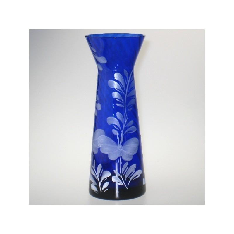 Blåt hyacintglas med håndmalet dekoration Hvid Sommerfugl