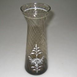 Hyacintglas, røgfarvet med håndmalet dekoration Hvid Nostalgi