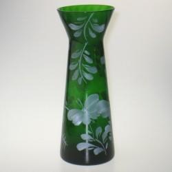 Grønt hyacintglas med håndmalet dekoration Hvid Sommerfugl