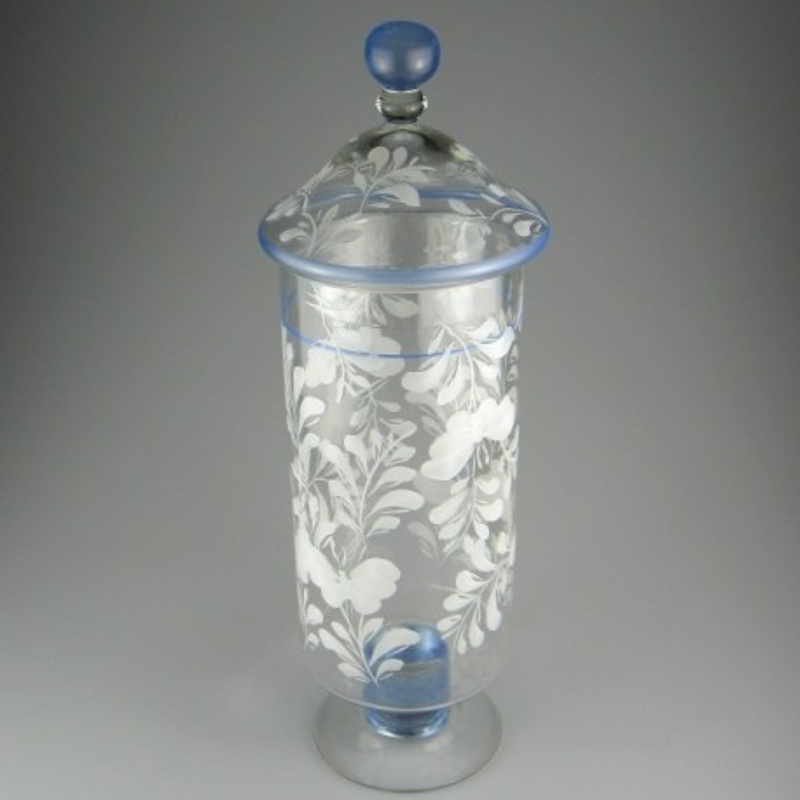 Stor cylindrisk lågkrukke i håndmalet glas med dekoration hvid sommerfugl