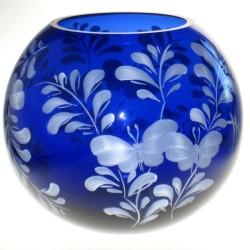 Lille glasbowle med rosenmotiv til fyrfadslys