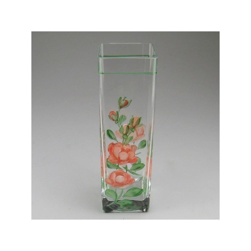 Firkantet glasvase med håndmalet rosendekoration