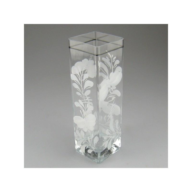 Firkantet glasvase med håndmalet sommerfuglemotiv