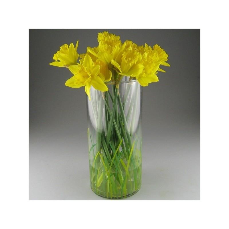 Blomsterglas / stort samleglas / vase dekoreret med græs / ålegræs