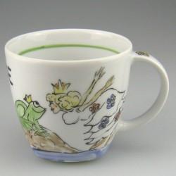 Håndmalet børnekrus i porcelæn med Prinsessen og Frøen (model B)