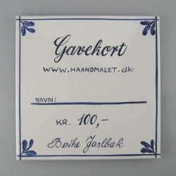 Gavekort - 100 kr. udført på en håndmalet flise