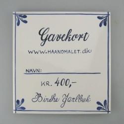 Anderledes gavekort - 400 kr. udført på en håndmalet flise